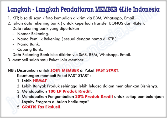 Cara Join | Gabung Member | Agen | Distributor 4Life Transfer Factor Indonesia